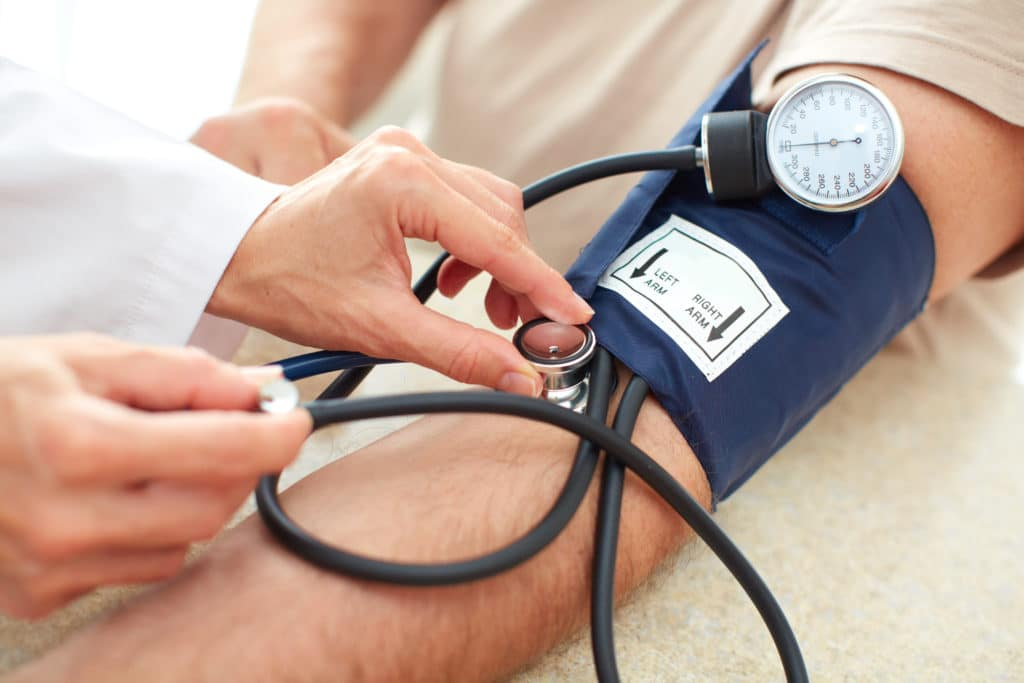 Doctor taking blood pressure measurement