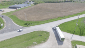 Aerial view of Sisbro truck pulling out of drive