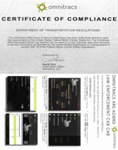 Omnitracs - Certificate of Compliance