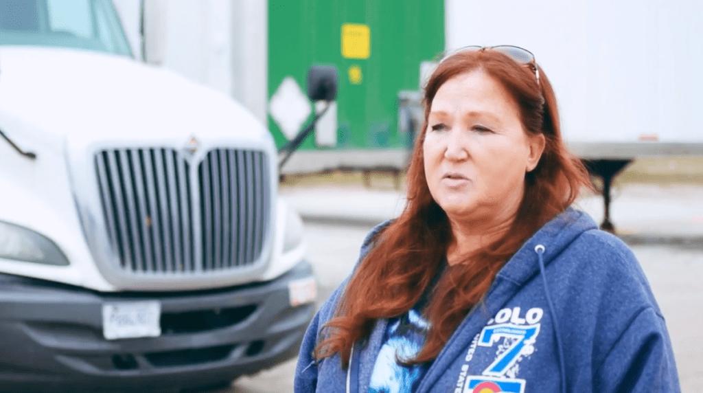 Woman truck driver speaking on behalf of Sisbro