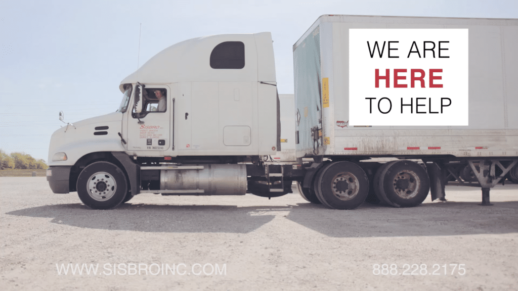 Sisbro truck with the words We are here to help on the side of the truck