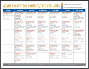 Adams County Illinois food pantries and free meal sites monthly calendar