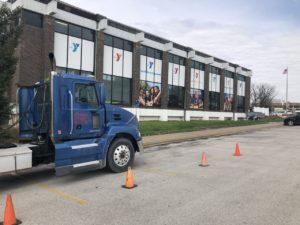 Sisbro truck in front of YMCA in Quincy, IL