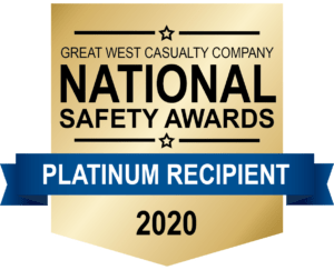 Great West Casualty Company 2020 National Safety Awards Platinum Recipient emblem