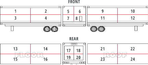diagram of a Sisbro trailer with numbers to indicate damage areas